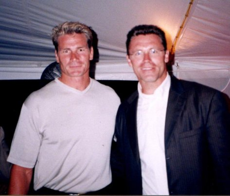 Pete Koch with Raiders teammate at 2000